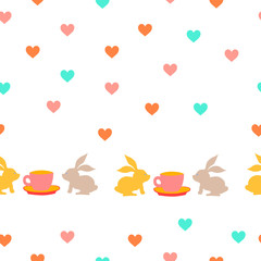 Seamless pattern with bunny, cup and hearts. Seamless background for kids.