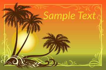 Exotic Landscape, Tropical Palms Trees Silhouettes, Sun and Gold Frame with Floral Pattern on a Background of the Morning Sea. Eps10, Contains Transparencies. Vector