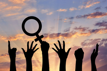 Silhouette of hand movements feminists