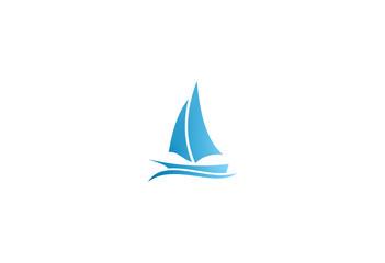 boat sail blue vector logo