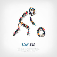 people sports bowling vector
