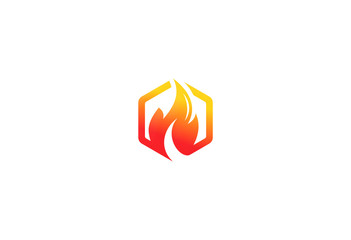 fire icon dangerous logo