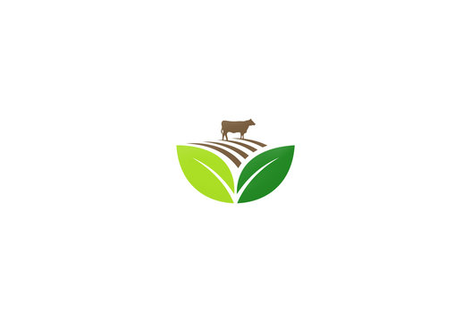 farm land cow vector logo