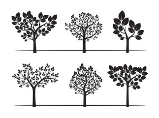 Black Trees and Leafs. Vector Illustration.