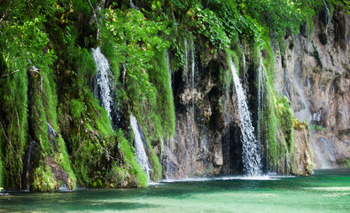 Wall Mural - View of cascade in Croatian national park Plitvice Lakes