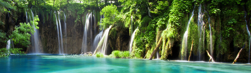 View of cascade in Croatian national park Plitvice Lakes