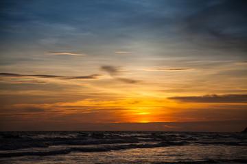Sunset and sea waves, Beautiful gold sunset on the sea. , Sea Su