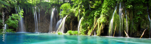 Wall mural View of cascade in Croatian national park Plitvice Lakes