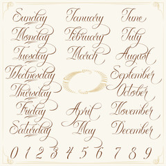 Days, Months, Numbers brown set