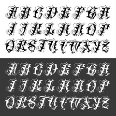 Popular gangster tattoo typeface set