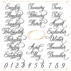 Days, Months, Numbers brown graphic set