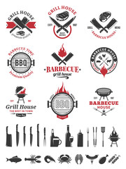 Barbecue black and red logo and labels
