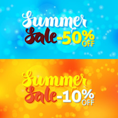 Summer Sale Promo Banners over Abstract Blurred Background