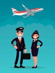 Pilot and a flight attendant on a background of an airplane taking off