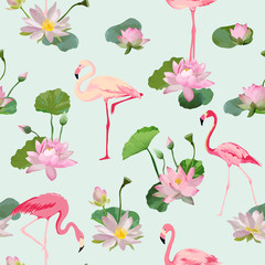 Flamingo Bird and Waterlily Flowers Background. Retro Seamless Pattern