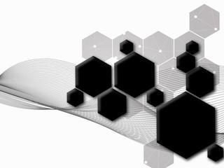 Abstract black hexagon