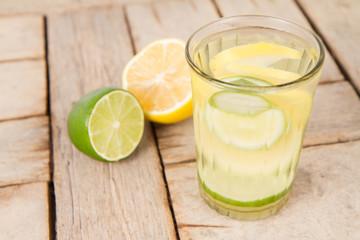 Lemonade with lemon and lime