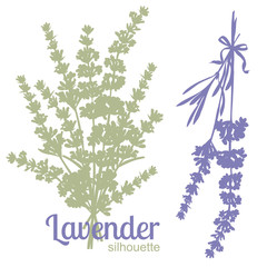 Set of silhouettes of lavender flowers