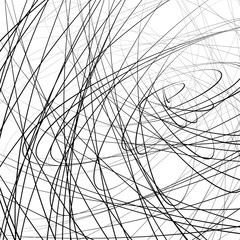 Random squiggly, squiggle intersecting lines in chaotic style. A