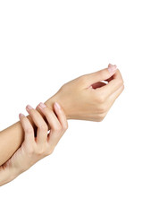 Woman holding her wrist in pain, isolate on white background.