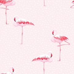 Tuinposter Flamingo Pink flamingo seamless pattern