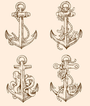 Set of vintage anchors