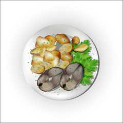 A set for a dinner, fish with potatoes.
