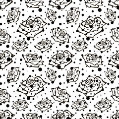 Seamless vector floral pattern with flowers. Hand drawn black and white background with rose and dots. Inc painting. Series of Hand Drawn Seamless Patterns.