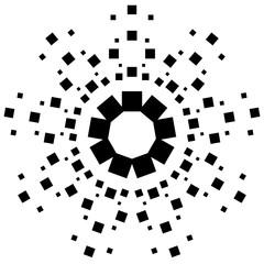 Circular element made of squares. Squares rotating. Abstract mon