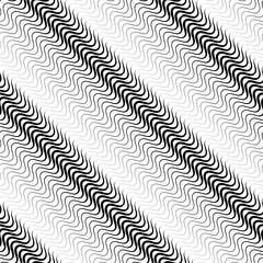 Wavy diagonal parallel lines. seamless, repeatable monochrome pa