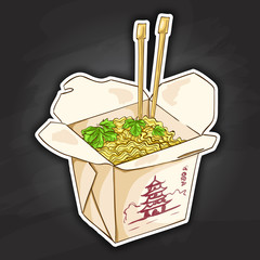 chinese noodles box color picture sticker