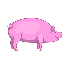 Pig icon in cartoon style isolated on white background. Animals symbol