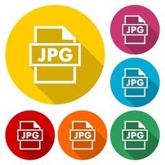 JPG file format square flat icons set