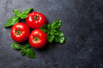 Fototapeta Fresh ripe garden tomatoes and basil obraz
