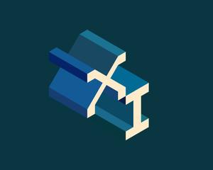 XI isometric 3D letter logo. three-dimensional stock vector alphabet font typography design.