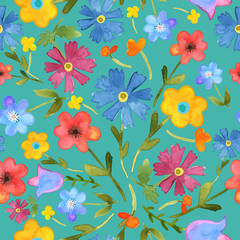 Seamless floral  background. Isolated colorful field flowers dra