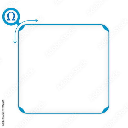 Vector Blue Box To Fill Your Text And Omega Symbol Stock Image And
