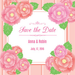Save the date floral wedding invitation with briar roses. Design template in pink colors with rosehips