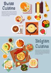 Worldwide popular dishes of swiss, belgian cuisine