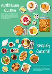 Typical dishes of british and australian cuisine