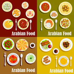 Popular wholesome dishes of arabian cuisine icons