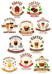 Premium quality coffee beverages symbols