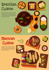 Authentic cuisine of Mexico and Brazil symbol