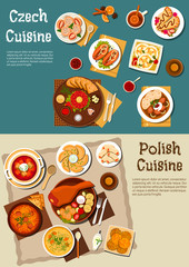 Polish and czech pub dinners with beer flat icon