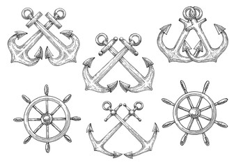 Sailing ships helms and crossed anchors sketches