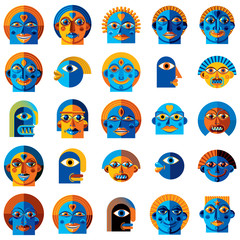 Mythic creatures collection, vector modern art. Set of fantastic