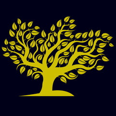 Art illustration of spring branchy tree, stylized eco symbol. Gr