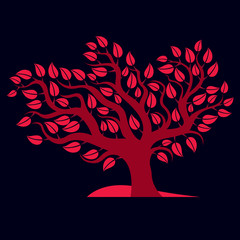 Artistic  illustration of autumn branchy tree with red leaves, s