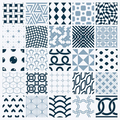 Graphic ornamental tiles collection, set of monochrome vector re