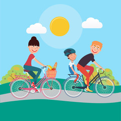 Happy Family Riding Bikes. Woman on Bicycle. Father and Son. Vector illustration